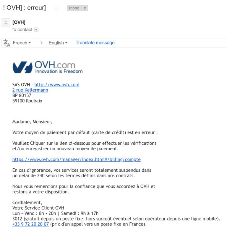 Campagne de hameçonnage ciblant les clients d'OVH